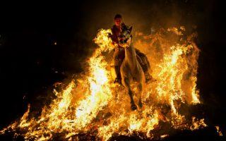 Οι φωτιές του Αγίου Αντωνίου Κάθε χρόνο τα τελευταία 500 χρόνια στο χωριό  San Bartolome de Pinales της Ισπανίας, τα άλογα δείχνουν την πίστη τους στα αφεντικά τους και αυτοί με την σειρά τους στον Άγιο Αντώνιο. Τα άλογα περνούν μέσα από τις φωτιές για να εξαγνιστούν και τα να εξασφαλίσουν καλή υγεία για όλη την υπόλοιπη χρονιά.AP / Morenatti