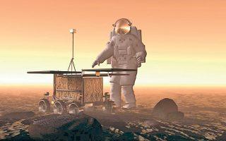 Το εξερευνητικό όχημα «Opportunity», σε απεικόνιση δίπλα σε αστροναύτη, δίνει στον παρατηρητή μια καλή ιδέα του μεγέθους του.