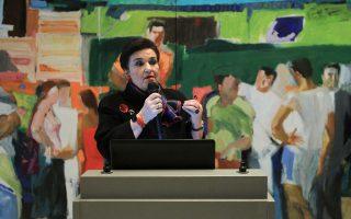 Παρθενική ξενάγηση για την κ. Μαρία Λαμπράκη - Πλάκα στη νέα στέγη της Πινακοθήκης.