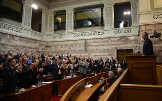 Ο Πρωθυπουργός Αντώνης Σαμαράς μιλά στα μέλη της Κοινοβουλευτικής Ομάδας της Νέας Δημοκρατίας στην Βουλή.