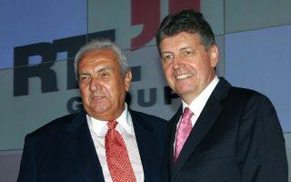 Ο Δημήτρης Κοντομηνάς με τον διευθύνοντα σύμβουλο του RTL Group Gerhard Zeiler (ΑΠΕ ΜΠΕ/ΠΑΝΤΕΛΗΣ ΣΑΪΤΑΣ ).