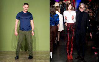 Αριστερά: Ο Τζόναθαν Σόντερς. Δεξιά: Ο Πολ Σμιθ ανάμεσα σε μοντέλα στο τέλος πρόσφατου show του.