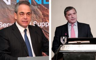 O πρόεδρος του ΕΒΕΑ, Κωνσταντίνος Μίχαλος (αρ.) και ο νυν δήμαρχος Αμαρουσίου και πρόεδρος του Ιατρικού Συλλόγου, Γιώργος Πατούλης.