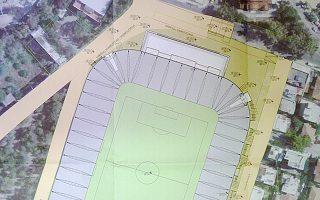 Η κάτοψη του γηπέδου στις πραγματικές διαστάσεις του χώρου (από το σχέδιο γενικής διάταξης που κατέθεσε η ΑΕΚ στον Δήμο Ν. Φιλαδέλφειας).
