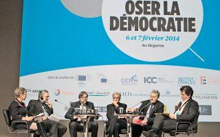 Κορυφαίες φυσιογνωμίες από την πολιτική, τις επιχειρήσεις και τον ακαδημαϊκό χώρο, από την Ελλάδα και την Ευρώπη, συμμετείχαν στο συνέδριο «Τολμήστε για τη Δημοκρατία», που διοργάνωσαν η «Καθημερινή» και το γαλλικό περιοδικό Nouvel Observateur.