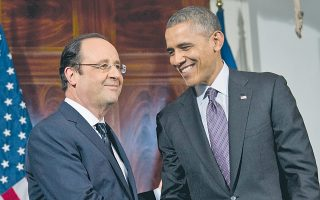 Χαμόγελα, κανονιές στην υποδοχή και πολλά «Dear Barack» και «Cher François» στις συναντήσεις του Φρανσουά Ολάντ με τον Μπαράκ Ομπάμα.