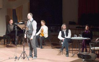 O πιανίστας Νίκος Κυριόσογλου, ο ηθοποιός Δημήτρης Κουστολίδης, ο βιολονίστας Ντέιβιντ Μπόγκοραντ και οι ηθοποιοί Σταύρος Μπαρτζόκας, Χριστίνα Γεωργίου και Γιάννης Δρόσος στην εκδήλωση της «Κ» στη Θεσσαλονίκη.