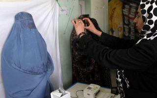 Φωτογραφία ταυτότητας, με αφορμή τις επικείμενες εκλογές, βγάζει η Αφγανή της φωτογραφίας. Τώρα πως θα διαπιστώσει κανείς  ότι πρόκειται για το ίδιο πρόσωπο, αφού φορά μπούργκα, αυτό είναι ένα άλλο θέμα. EPA/JALIL REZAYEE