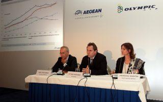 Ο αντιπρόεδρος της Aegean Ευτύχης Βασιλάκης (Κ)  πλαισιωμένος από διευθύνοντα Σύμβουλο Δημήτριο Γερογιάννη (Α) και την διευθύντρια δημοσίων σχέσεων της εταιρείας Σταυρούλα Σαλούτση (Δ) μιλά κατά την διάρκεια συνέντευξης τύπου, Πέμπτη 31 Οκτωβρίου 2013. Συνέντευξη Τύπου οργάνωσε η  Aegean με αφορμή την ολοκλήρωση της συμφωνίας εξαγοράς της Olympic Air και την παρουσίαση του γενικότερου σχεδιασμού των υπηρεσιών της, αλλά και του προγράμματος του 2014. ΑΠΕ-ΜΠΕ/ΑΠΕ-ΜΠΕ/Παντελής Σαίτας