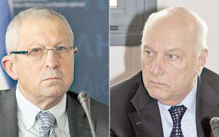 Αριστερά, ο νέος πρόεδρος του ΕΣΕΤ Ιω. Σηφάκης, δεξιά, ο νέος αντιπρόεδρος Χρ. Ζερεφός.