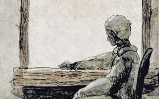 Στιγμιαίο σκίτσο από το φιλμ αφιερωμένο στο ποίημα του Καβάφη «Γκρίζα».
