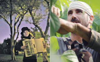 Στην ταινία «Κοινωνικό Ωδείο», η Θέκλα Μαλάμου και η Αλεξάνδρα Σαλίμπα αναδεικνύουν τη δύναμη του εθελοντισμού στα πέντε σημεία–στέκια της Αθήνας που παραχωρήθηκαν στο Κοινωνικό Ωδείο για δωρεάν μαθήματα μουσικής. Δεξιά, σκηνή από το «GR.work in progress» της Ελένης Ζερβοπούλου.
