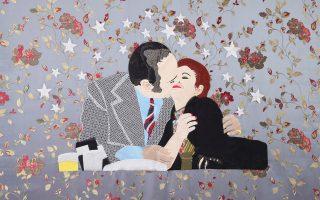 Κεντημένο φιλί από τον Λιβανέζο καλλιτέχνη Raed Yassin (Kalfayan Galleries έως 29/3).