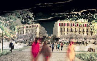 Μακέτα της νυχτερινής Ομόνοιας, βάσει των σχεδίων του Re-think Athens. Η ανάπλαση του κέντρου με άξονα την οδό Πανεπιστημίου βρίσκεται πλέον σε συγκεκριμένη πορεία.