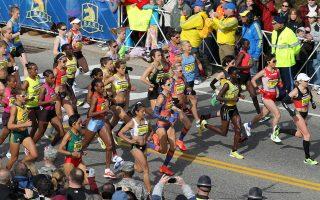 HOPKINTON, MA -APRIL 15: The women's elite runners start the 117th Boston Marathon on Monday, April 15, 2013. (Photo by Pat Greenhouse/The Boston Globe via Getty Images)