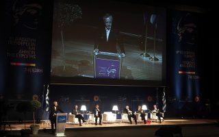 Ο Αντιπρόεδρος της Κυβέρνησης και Υπουργός Εξωτερικών Ευάγγελος Βενιζέλος (3Δ) με τον  Περιφερειάρχη Αττικής, Επικεφαλής της  Ελληνικής Αντιπροσωπείας στην Επιτροπή των Περιφερειών Ιωάννη Σγουρό (2Α) τον Πρόεδρο της Ευρωπαϊκής Τράπεζας Επενδύσεων Werner Hoyer (3Α) τον Πρόεδρο της Επιτροπής των Περιφερειών Ramon Luis Valcarcel Siso (Α) την Πρώτη Αντιπρόεδρο της Επιτροπής των Περιφερειών Mercedes Bresso και τον Υπουργός Εσωτερικών Γιάννη Μιχελάκη (Δ) συμμετέχουν  στην 6η Διάσκεψη Περιφερειών και Δήμων της Ευρώπης στο πλαίσιο της ελληνικής Προεδρίας της ΕΕ, που γίνεται στο Μέγαρο Μουσικής Αθηνών.