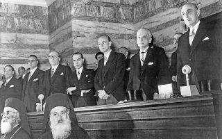 12 Δεκεμβρίου 1952. Η κυβέρνηση του στρατάρχη Αλέξανδρου Παπάγου  κατά την ορκωμοσία της στη Βουλή. Ανάγκη πλέον ήταν να κερδηθεί η ειρήνη.