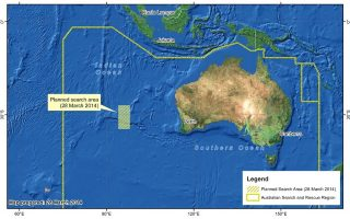 epa04143949 A handout image released by the Australian Maritime Safety Authority (AMSA) in Canberra, Australia, 28 March 2014, shows the new search area in the Indian Ocean, west of Perth, Australia, for the missing Malaysian Airlines flight MH370. The search for missing Malaysia Airlines flight MH370 has been moved around 1,100 kilometres to the northeast following a new analysis of its flight path, Australian officials said. The international team of aircraft and boats would now comb approximately 319,000 square kilometres of the Indian Ocean located around 1,850 kilometres west of Perth, AMSA said, after new information was received from the Malaysian team investigating the incident. The latest data seemed to show the plane was travelling faster and therefore may have run out of fuel earlier than previously estimated, it said.  EPA/AMSA  HANDOUT EDITORIAL USE ONLY/NO SALES