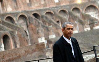 Ο Αμερικανός πρόεδρος Μπαράκ Ομπάμα στο Κολοσσαίο, Ρώμη, 27 Μαρτίου 2014 (EPA/ETTORE FERRARI)