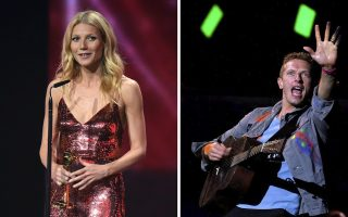 epa04140960 (FILE) A combo picture shows US actress Gwyneth Paltrow (L) receiving the award for 'Best Actress International'  in Berlin, Germany, 01 February 2014 and Chris Martin, frontman of the British rock band Coldplay, singing as the band performs in Porto, Portugal, late 18 May 2012. Actress Gwyneth Paltrow, 41, and Chris Martin, 37, have split up after ten years of marriage, they announced on 25 March 2014. The couple met in 2002 and married a year later in southern California. They have two children, a daughter, Apple, aged 9 and a son Moses, 7.
