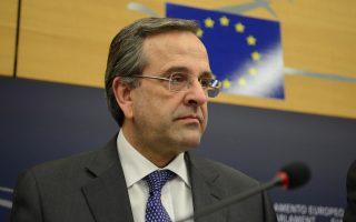 (Ξένη δημοσίευση) Ο Πρωθυπουργός Αντώνης Σαμαράς κατά την συνέντευξη τύπου μετά την συνεδρίαση, στο Στρασβούργο, Τρίτη 25 Φεβρουαρίου 2014.  Ο Πρωθυπουργός παρευρεθεί, στο Στρασβούργο, με την ιδιότητα του προεδρεύοντος της ΕΕ, στη διαδικασία ανάληψης από τον πρώην πρωθυπουργό της Ιταλίας Μάριο Μόντι, των καθηκόντων του επικεφαλής της Ομάδας Εργασίας Υψηλού Επιπέδου για τους