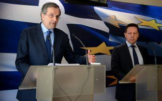 (Ξένη Δημοσίευση) Ο Πρωθυπουργός Αντώνης Σαμαράς (Α) μιλάει δίπλα στον υπουργό Οικονομικών Γιάννη Στουρνάρα κατά τη διάρκεια συνέντευξης τύπου στο υπουργείο Οικονομικών, Αθήνα Τρίτη 18 Μαρτίου  2014. Οι μακρές διαπραγματεύσεις με την τρόικα ολοκληρώθηκαν με επιτυχία, δήλωσε ο πρωθυπουργός, από το υπουργείο Οικονομικών. ΑΠΕ-ΜΠΕ/ΓΡΑΦΕΙΟ ΤΥΠΟΥ  ΠΡΩΘΥΠΟΥΡΓΟΥ/ΓΟΥΛΙΕΛΜΟΣ ΑΝΤΩΝΙΟΥ
