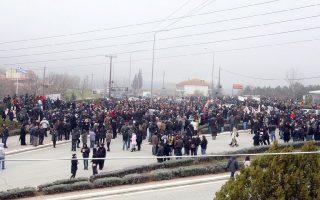Κάτοικοι και φορείς της Χαλκιδικής πραγματοποίησαν συλλαλητήριο, με αφετηρία την Ιερισσό και πορεία προς τη Μ.Παναγιά, ενάντια στη λειτουργία του εργοστασίου εξόρυξης χρυσού στις Σκουριές Χαλκιδικής. Μ. Παναγιά Χαλκιδικής, Κυριακή 24 Φεβρουαρίου 2013 ΑΠΕ ΜΠΕ/PIXEL