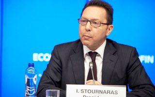 Ο προεδρεύων του Συμβουλίου Ecofin, υπουργός Οικονομικών Γιάννης Στουρνάρας μιλάει στη συνέντευξη Τύπου μετά την συνεδρίαση του Ecofin στις Βρυξέλλες, Τρίτη 18 Φεβρουαρίου 2014. ΑΠΕ ΜΠΕ/www.consilium.europa.eu/STR