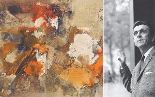 Αριστερά, το έργο «Αντίλογος» του 1962. Δίπλα, ο Γιάννης Σπυρόπουλος, που έφυγε από τη ζωή το 1990.