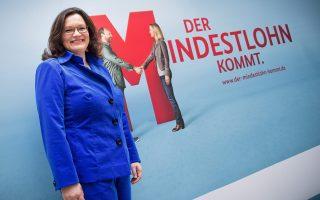 «Ο κατώτατος μισθός είναι καθ' οδόν», ενημερώνει η Γερμανίδα υπουργός Εργασίας Αντρέα Νάλες.