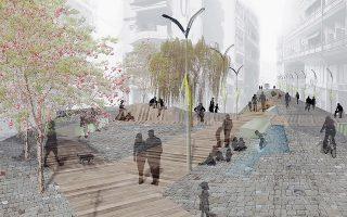 Η πρόταση των Αννας Κουτσονάνου, Αννας Λιάνα και Χαδιώς Κωνστάντια, μία από τις πέντε που βραβεύτηκαν, αφορά την πεζοδρόμηση τριών οδών και τη δημιουργία ενός νέου γραμμικού συστήματος τεμνόμενων χώρων κίνησης και ανάπαυσης.
