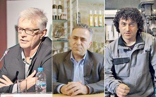 Ο οικονομολόγος Αρίστος Δοξιάδης (αριστερά) εμφανίζεται στα βίντεο του μαθήματος που είναι προσβάσιμο σε όλους όσοι εγγραφούν. Ο Γιώργος Τσικανδυλάκης (κέντρο), της Candias Oil, μοιράζεται την εμπείρια του στο διαδικτυακό μάθημα. Ο Γιάννης Κελέσης (δεξιά) που φτιάχνει μπρούντζινα αντικείμενα, μιλά για τη δική του επιχείρηση.