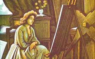 Δημήτρης Γαλάνης, «Aτελιέ», έγχρωμη ξυλογραφία 1940, 20,6x14,7 εκ. Εικονίζεται η Γαλλίδα σύζυγος του ζωγράφου, δεξιά η πρέσα που του χάρισε ο Degas και με αυτήν έκανε τα χαρακτικά του ο Γαλάνης.