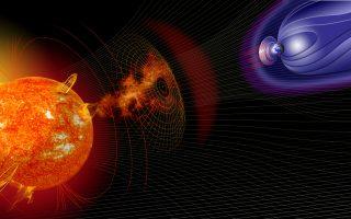 Στην καλλιτεχνική αναπαράσταση που δημιουργήθηκε για λογαριασμό της NASA, απεικονίζεται πώς η ηλιακή δραστηριότητα επηρεάζει τις συνθήκες που επικρατούν τόσο στο κοντινό μας Διάστημα, όσο και στην ίδια τη Γη. Ο Ελληνας καθηγητής Διαστημικής Φυσικής Βασίλης Αγγελόπουλος, επικεφαλής μιας αποστολής της NASA που μελετά τις ηλιακές καταιγίδες εντός του μαγνητικού πεδίου της Γης, παρατήρησε τον μηχανισμό με τον οποίο ο ηλιακός άνεμος παραμορφώνει το μαγνητικό πεδίο της Γης και πώς αυτό έχει ως αποτέλεσμα να φτάνουν στον πλανήτη μας μεγάλα φορτία ενέργειας.