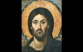 Από τις ωραιότερες και σπουδαιότερες εικόνες του Χριστού, του πρώτου μισού του 6ου αιώνα, ανήκει στη συλλογή της Μονής του Σινά και συντηρήθηκε από τον Τάσο Μαργαριτώφ. Η εγκαυστική τεχνική της εκτέλεσης και η πνευματικότητα του ύφους της μορφής θυμίζουν έντονα τα νεκρικά πορτρέτα Φαγιούμ. Οι διαφορές στα φρύδια και η ασυμμετρία των ματιών είναι δύο στοιχεία που κάνουν τους μελετητές να πιστεύουν ότι ο καλλιτέχνης εκφράζει ταυτόχρονα τη θεία και την ανθρώπινη φύση του Χριστού.