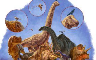 Απεικόνιση διάφορων ειδών δεινοσαύρων, με τα πτηνά, τα μόνα που επιβίωσαν από τη μαζική εξαφάνιση της Κρητιδικής.