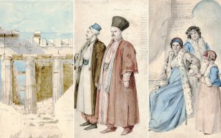 Υδατογραφία απεικονίζει τη νοτιοδυτική γωνία του Παρθενώνα. Στο κέντρο και δεξιά ενδυμασίες από διαφορετικούς τόπους: Εβραίος και Αρμένιος σαράφης στην Πόλη και πρώην πριγκίπισσες της Βλαχίας: Δόμνα, Δομνίτσα.