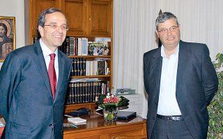 Mε 50,83% εξελέγη περιφερειάρχης Ηπείρου ο κ. Aλέξανδρος Kαχριμάνης. Στη φωτογραφία με τον πρωθυπουργό κ. Aντώνη Σαμαρά.