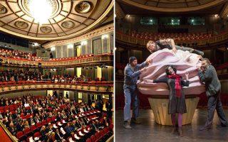 Αποψη της Κεντρικής Σκηνής του Εθνικού και δεξιά σκηνή από την παράσταση «Κέικ» του Βαγγέλη Χατζηγιαννίδη, που θα επαναληφθεί του χρόνου στη Νέα Σκηνή «Νίκος Κούρκουλος».