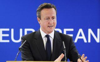 Ο Βρετανός πρωθυπουργός Ντέιβιντ Κάμερον σε συνέντευξη Τύπου στις Βρυξέλλες.