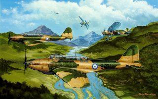 Καλλιτεχνική απεικόνιση του Κωνσταντίνου Καββαδία: σχηματισμός Fairey Battle της 33ης ΜΕΒ σε πολεμική αποστολή τον Νοέμβριο του 1940, πάνω από αλβανικό έδαφος.