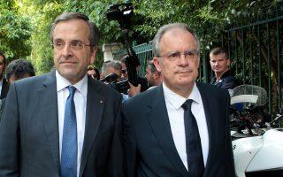 Ο πρωθυπουργός Αντώνης Σαμαράς   και ο νέος υπουργός  Πολιτισμού και Αθλητισμού Κωνσταντίνος Τασούλας