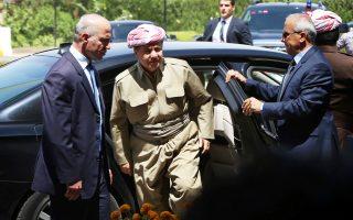 Ο πρόεδρος του αυτόνομου ιρακινού Κουρδιστάν Μασούντ Μπαρζανί προσέρχεται στο Κοινοβούλιο του Αρμπίλ.