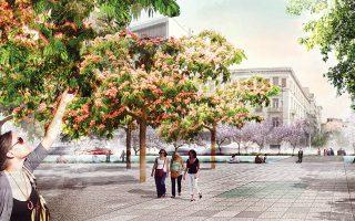 Αποψη της πλατείας Ομονοίας, σύμφωνα με την πρόταση του ολλανδικού γραφείου Okra που κέρδισε τον αρχιτεκτονικό διαγωνισμό του Re-think Athens.