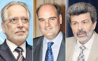 Από αριστερά: Ο καθηγητής της Ιατρικής Σχολής κ. Γεώργιος Χρούσος, ο καθηγητής της Νομικής Σχολής κ. Θεόδωρος Φορτσάκης, ο καθηγητής της σχολής Οικονομικών και Πολιτικών Επιστημών κ. Ναπολέων Μαραβέγιας.
