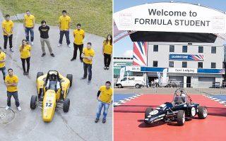 Αριστερά, το αυτοκίνητο που κατασκεύασε φέτος η ομάδα του ΑΠΘ και θα λάβει μέρος σε τρεις διεθνείς διαγωνισμούς. Δεξιά, μοντέλο φοιτητών του ιδρύματος που διακρίθηκε σε παλαιότερο διαγωνισμό.