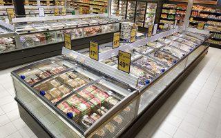 Patenteret glaslåg-system, Keep Cool på frysedisk i supermarked, Aktiv Super, Hinnerup. Dato: 28.02.06© Foto: Claus Haagensen/ChiliDato: Chili foto & arkiv