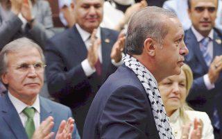 Ο Τούρκος πρωθυπουργός Ρετζέπ Ταγίπ Ερντογάν σε εκδήλωση της προεκλογικής του εκστρατείας στην Αγκυρα.
