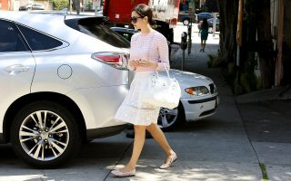 UK CLIENTS MUST CREDIT: AKM-GSI ONLY<BR />EXCLUSIVE: Emmy Rossum picks up her Lexus SUV with the valet after a quick stop at The Face Place, always fashionable cute, today she wore a light pink stripped sweater matching her white lace skirt, colored flats and leather tote bag.<P>Pictured: Emmy Rossum<P><B>Ref: SPL727284  270314   EXCLUSIVE</B><BR />Picture by: AKM-GSI / Splash News<BR /></P><P><B>Splash News and Pictures</B><br>Los Angeles: 310-821-2666<br>New York: 212-619-2666<br>London: 870-934-2666<br>photodesk@splashnews.com<br></P>