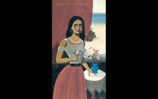 «Κοπέλα μετά βάζον». Η ωραία, ελληνική μορφή της Μαρίας, μούσας του Μέντη, δίνει φως σε πολλά έργα του.